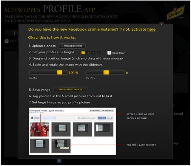 Schweppes Profile App on Facebook