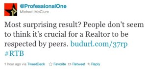 ProfessionalOne Realtor Peer Respect Tweet